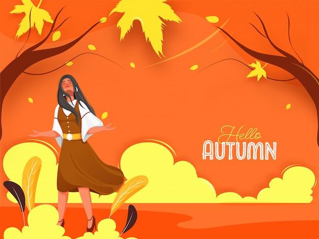 Hallo herfst tekst met jong meisje genieten van de natuur op een oranje achtergrond.