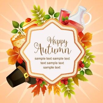 Hallo herfst thanksgiving kleurrijke bladeren