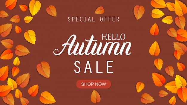 Hallo herfst verkoop belettering banner. speciale aanbieding kortingsposter met gouden herfstbladeren. herfst seizoensgebonden ontwerpsjabloon