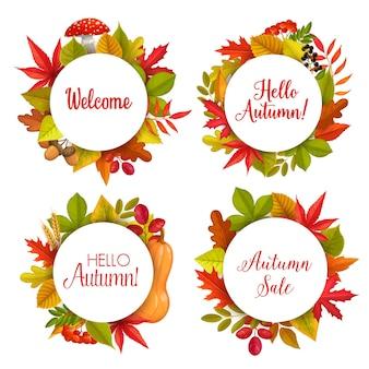 Hallo herfst verkoop vector ronde frames met gevallen bladeren van esdoorn, lijsterbes en kastanje, eiken en berken. herfstkortingspromo-aanbieding banners voor herfstprijs korting met typografie en gebladerte