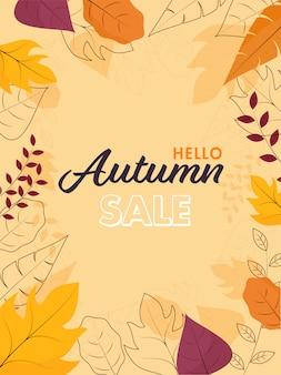 Hallo herfst verkoopsjabloon of flyer met verschillende bladeren versierd op perzik gele achtergrond.