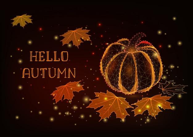 Hallo herfst wenskaartsjabloon met gloeiende pompoen, esdoorn bladeren, sterren.