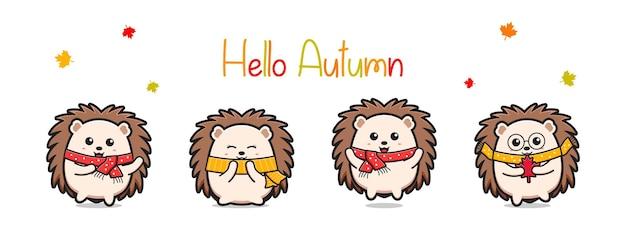 Hallo herfstbanner met schattige egel cartoon pictogram illustratie platte cartoon stijl