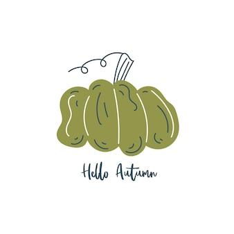 Hallo herfstbelettering minimalistische pompoenprint moderne trendy herfstkaart in scandinavische stijl