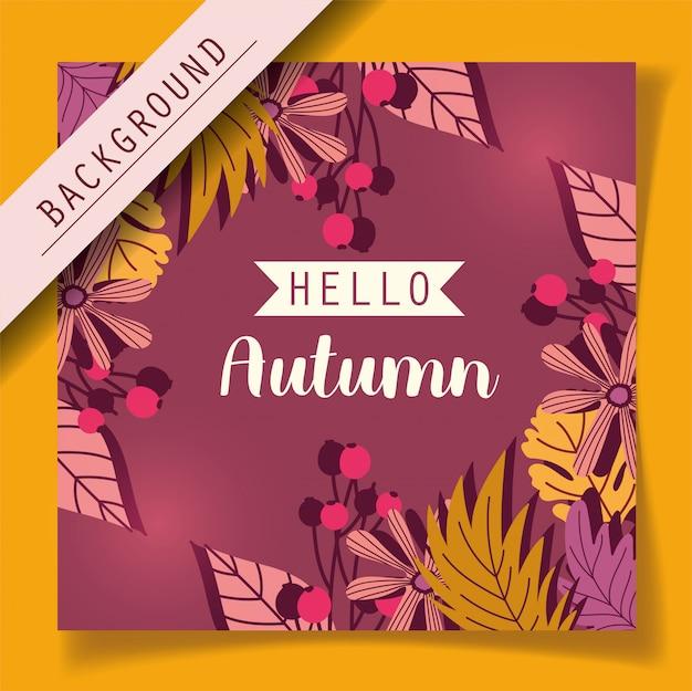 Hallo herfstbladeren seizoen achtergrond