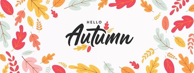 Hallo herfstposter of -banner met kleurrijke herfstbladerengroeten en cadeautjes voor het herfstseizoen