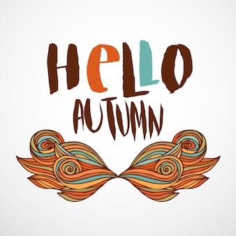 Hallo herfstprint met golvende doodle kunst. hand getrokken vector poster, banner, kaart met belettering.