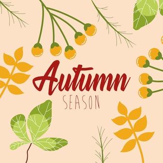 Hallo herfstseizoen bladeren en kalligrafie
