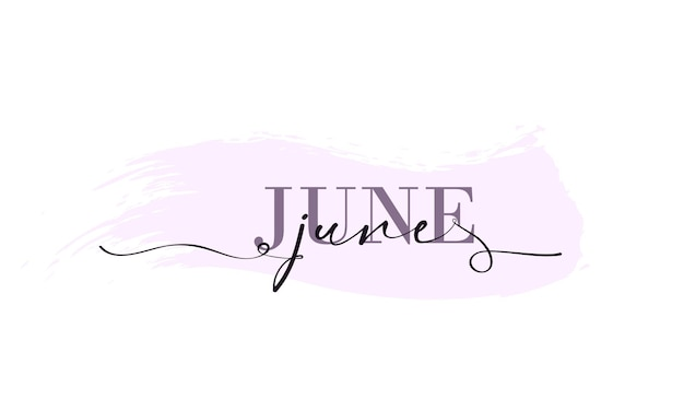 Hallo juni kaart. een lijn. belettering poster met tekst juni. vector eps 10. geïsoleerd op witte achtergrond