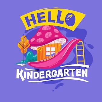 Hallo kindergarten phrase met kleurrijke illustratie. terug naar school offerte