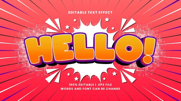 Hallo komisch bewerkbaar teksteffect met cartoontekststijl