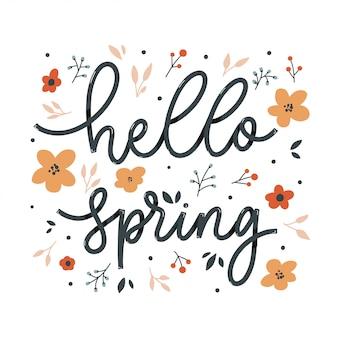 Hallo lente belettering inscriptie met bloemen. liefdes kaart.