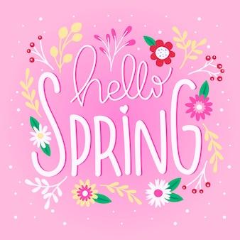 Hallo lente belettering met bloemen