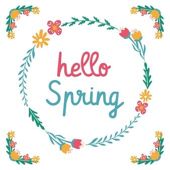 Hallo lente bloem blad krans citaten