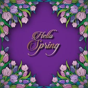 Hallo lente bloemen kaartsjabloon