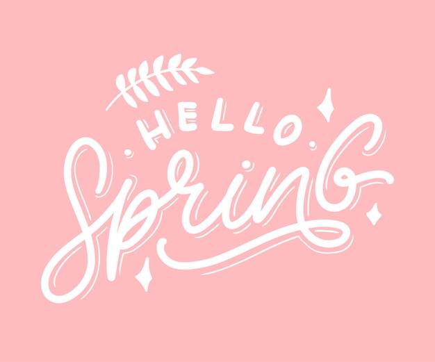 Hallo lente bloemen tekst belettering slogan
