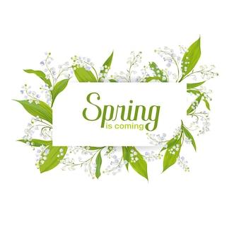Hallo lente bloemenkaart voor vakantiedecoratie. bruiloft uitnodiging, groet sjabloon met bloeiende lily valley bloemen. vector illustratie