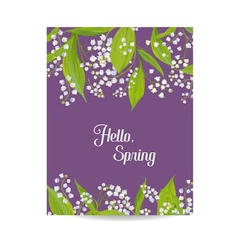 Hallo lente bloemenkaart voor vakantiedecoratie. sprinttijd achtergrond. bruiloft uitnodiging, groet sjabloon met bloeiende lily valley bloemen. vector illustratie