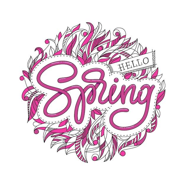 Hallo lente hand geschetst logo, badge typografie. belettering lenteseizoen met blad voor wenskaart, uitnodigingssjabloon