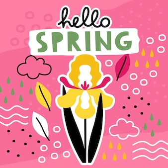 Hallo lente hand getrokken sjabloon met bloemen collage.