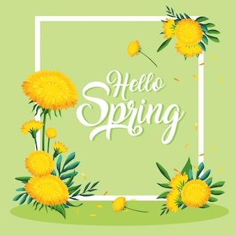 Hallo lente kaart met prachtige bloemen in frame