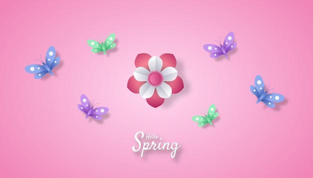 Hallo lente met bloem en vlinder papier gesneden kunststijl