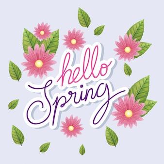 Hallo lente met bloemen en bladeren decoratie