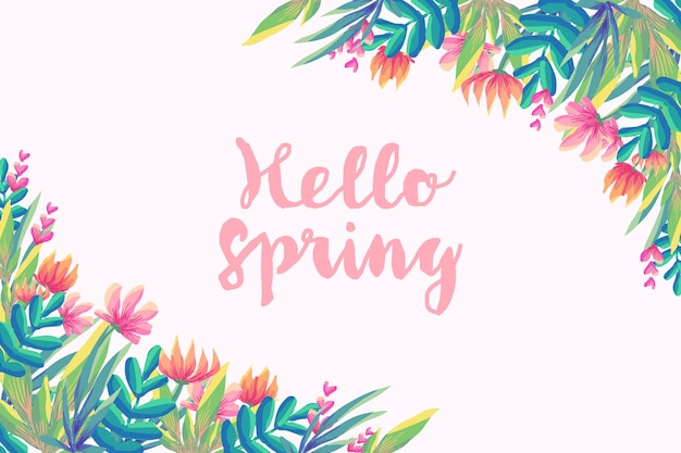 Hallo lente met bloemen