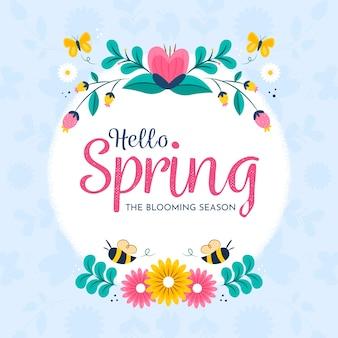 Hallo lente met kleurrijke bloemen