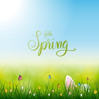 Hallo lente, pasen konijn, natuur lente seizoen illustratie