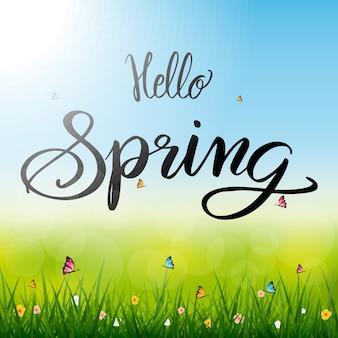 Hallo lente seizoen illustratie