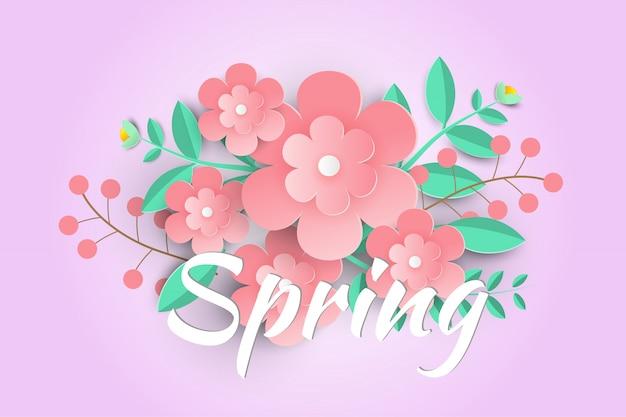 Hallo lente verkoop achtergrond met mooie papieren bloemen.