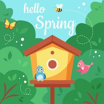 Hallo lente vogelhuisje met vogels illustratie ontwerp