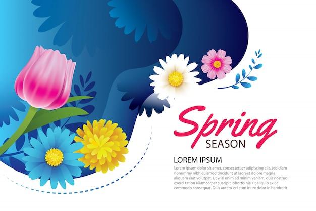 Hallo lente wenskaart en uitnodiging met bloemen.
