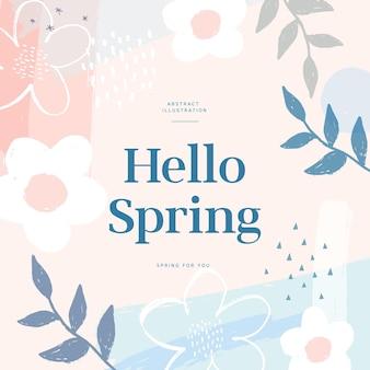 Hallo lente wenskaart met bloemen en bladeren