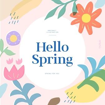 Hallo lente wenskaart met cirkel en bloemen en bladeren