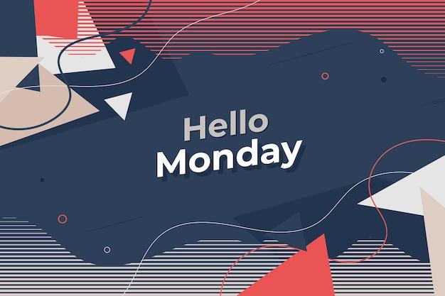 Hallo maandag achtergrond in memphis stijl