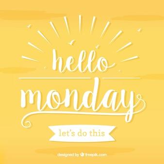 Hallo maandag, witte letters op een gele achtergrond