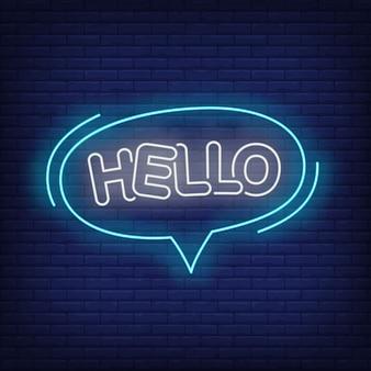 Hallo neon belettering in tekstballon.