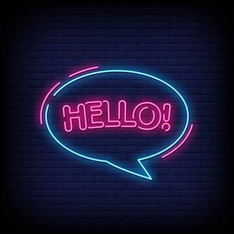 Hallo neon uithangbord op bakstenen muur