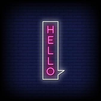 Hallo neonstijltekst met bellentoespraak Premium Vector