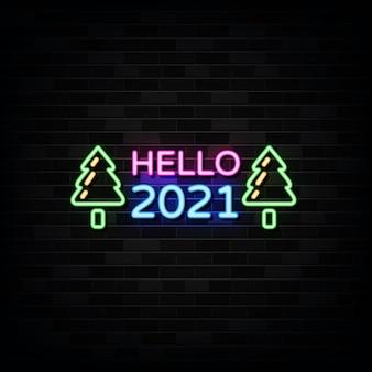 Hallo nieuwjaar neonreclames. ontwerpsjabloon neon teken