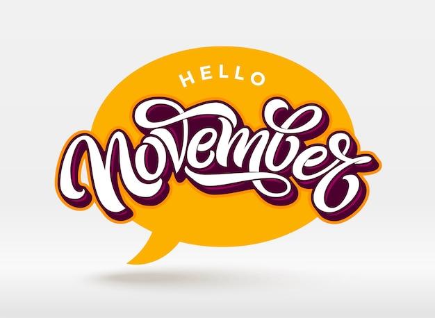 Hallo november typografie met tekstballon op witte achtergrond