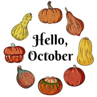 Hallo oktober decoratieve krans banner met schattige kleurrijke pompoenen