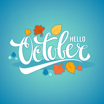 Hallo oktober, heldere herfstbladeren en belettering compositie flyer