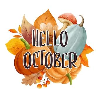Hallo oktober met sierlijke bladeren bloem achtergrond herfst oktober handgetekende belettering sjabloon
