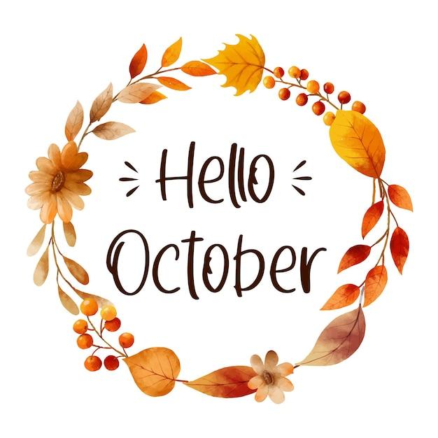 Hallo oktober met sierlijke bladeren bloem frame herfst oktober handgetekende belettering sjabloon
