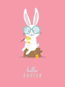Hallo pasen met wit pasen-konijn.
