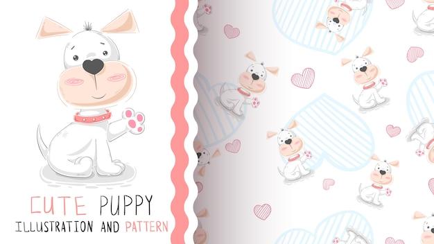 Hallo schattige puppy - naadloos patroon