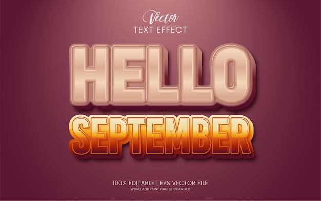 Hallo september bewerkbare teksteffectstijl